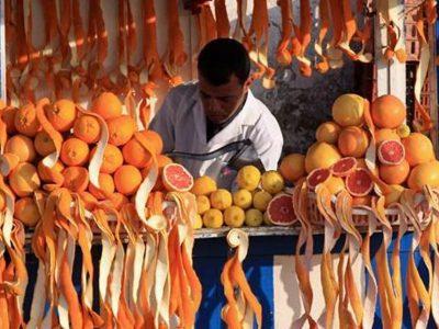 venditore di agrumi al mercato souk di Marrakech